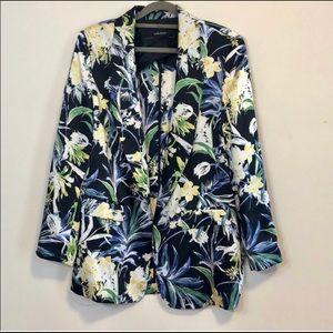 Zara Basic Multicolored Floral Open Front Blazer